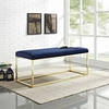 Anticipate Navy Velvet Fabric/Gold Metal Bench by Modway