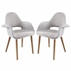 Aegis 2 Light Gray Fabric/Wood Dining Arm Chairs by Modway