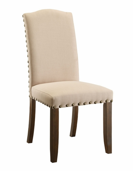 Brentford 2 Ivory Fabric Side Chairs by Furniture of America