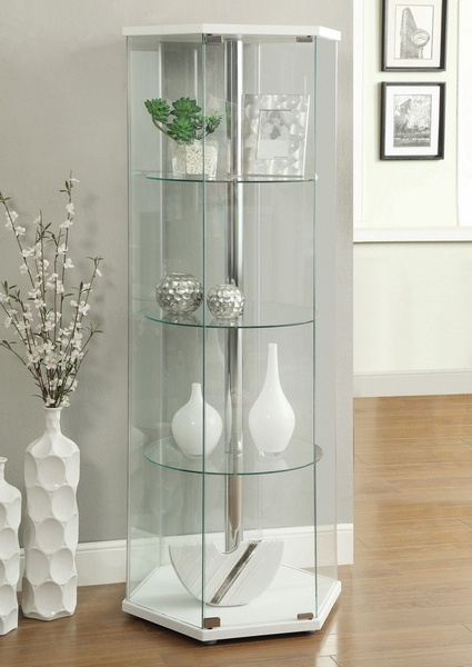 Salud Glass Hexagon Curio Cabinet w/ White Wood Top/Bottom by Coaster