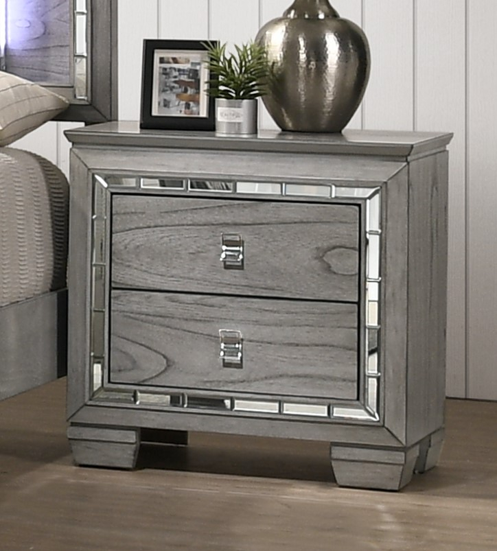 Antares Light Gray Oak Wood 2-Drawer Nightstand w/ Mirror ...