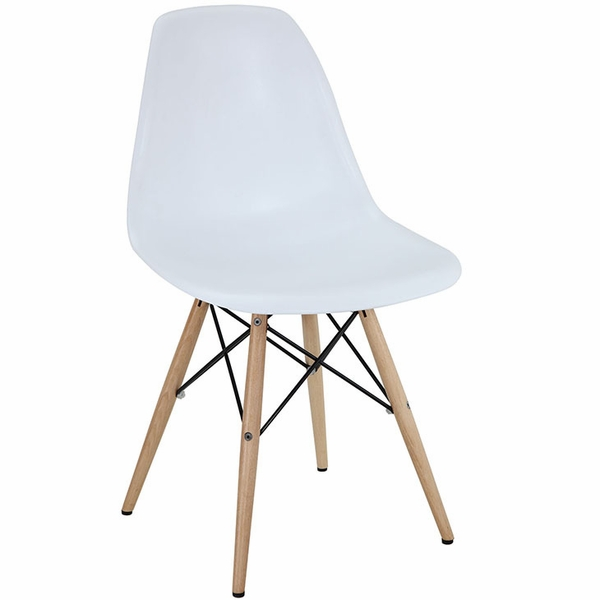 Pyramid White Plastic/Solid Wood Side Chair by Modway