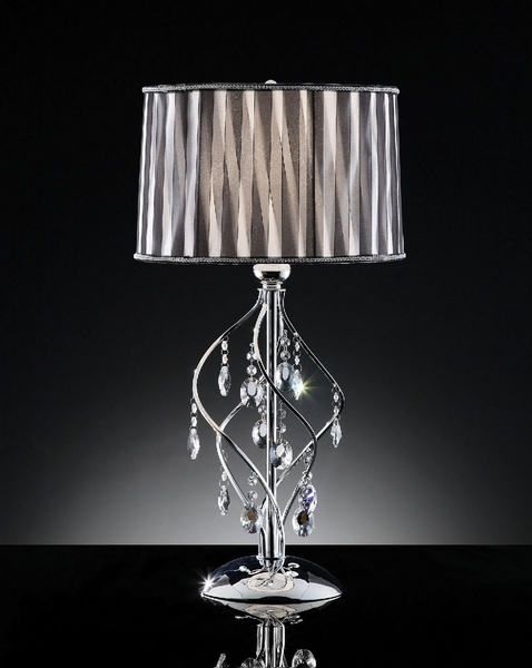 Arya Glam Table Lamp w/ Hanging Crystal by Furniture of America