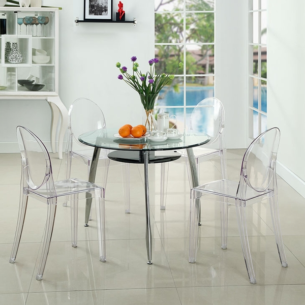 Casper 4 Clear Plastic Patio Side Chairs by Modway