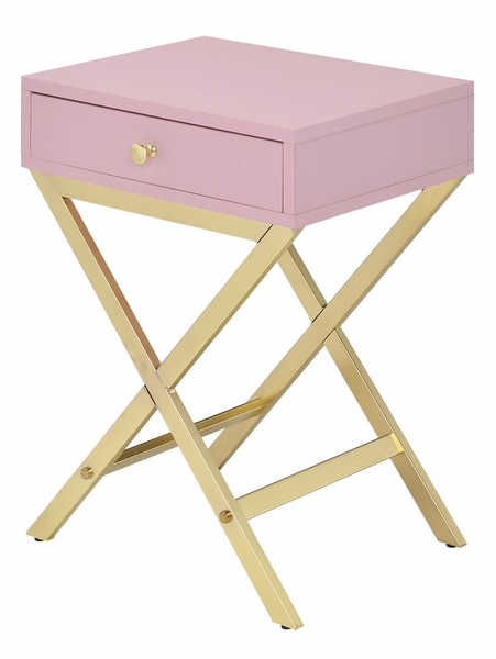 Coleen Pink Wood/Gold Metal Side Table w/Drawer by Acme