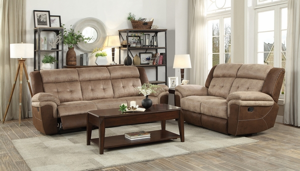 Chai Brown Polished Microfiber Manual Recliner Loveseat by Homelegance