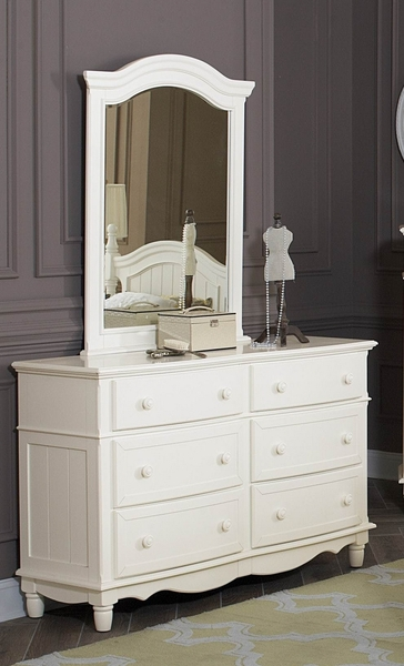 Clementine Antique White Wood Frame Mirror by Homelegance
