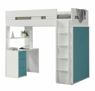 Nerice White Teal Wood Twin Loft Bed With Desk Wardrobe By Acme