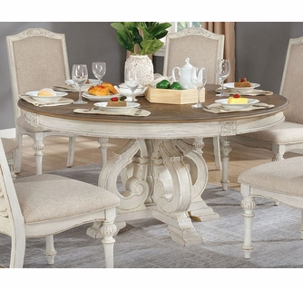 Arcadia Antique White Wood Round Dining, White And Wood Dining Room Sets