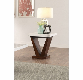 Forbes White Walnut Marble Wood End Table By Acme