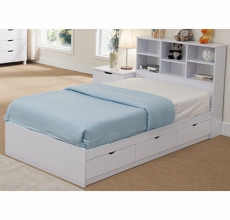 Rosangela White Wood Twin Bed W Bookcase Headboard Drawers By Id Usa