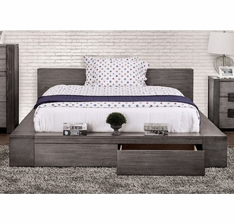 Janeiro Gray Wood King Storage Bed Oversized By Furniture Of America