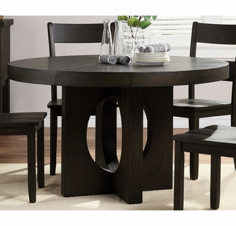 Haddie Distressed Walnut Wood Round Dining Table By Acme
