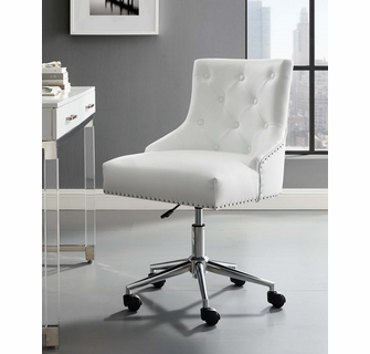 Regent White Faux Leather Office Chair With Pneumatic Lift By Modway