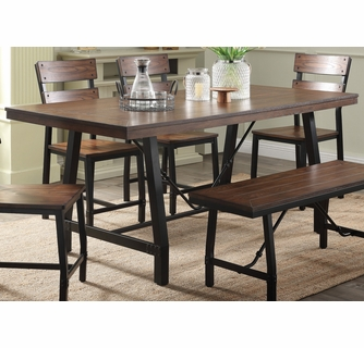 Mariatu Oak Wood Black Metal Rectangular Dining Table By Acme