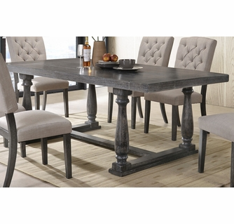 Bernard Weathered Gray Oak Wood Dining, Weathered Gray Dining Room Table