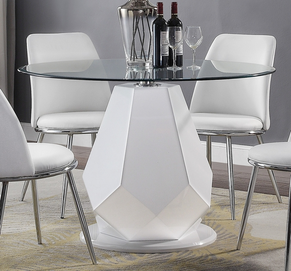 Chara White High Gloss Wood/Clear Glass Dining Table by Acme