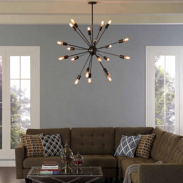 Beam Black Stainless Steel Chandelier by Modway
