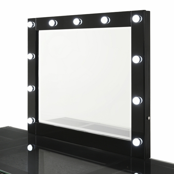 Avery Contemporary Black Wood Vanity Mirror with LED by Crown Mark