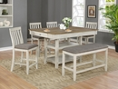 Nina Natural/White Wood Rectangular Counter Height Table by Crown Mark