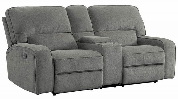 Borneo Mocha Fabric Power Recliner Loveseat w/Console by Homelegance