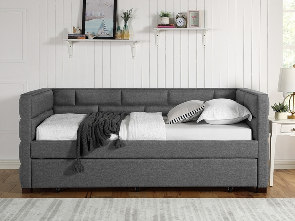 Flannery Grey Fabric Twin Daybed with Trundle by Crown Mark