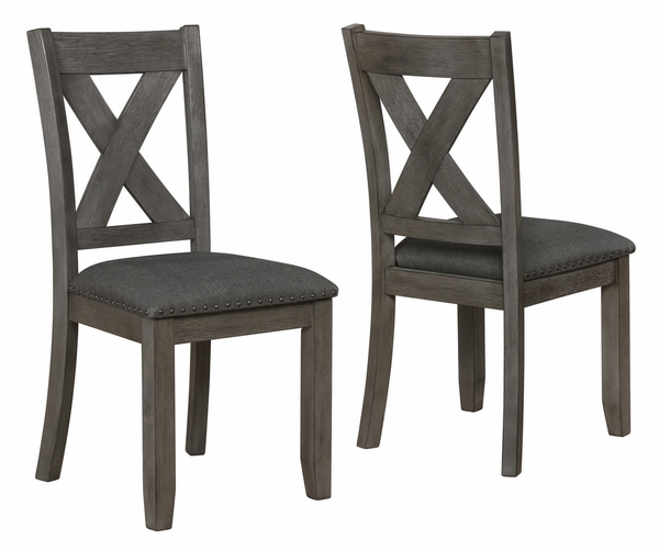 Favella 2 Dark Grey Fabric/Wood Side Chairs by Crown Mark