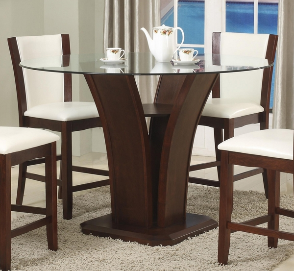 Camelia Espresso Wood Counter Height Table w/ Glass Top by Crown Mark