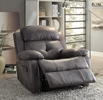 Ashe Gray Polished Microfiber Manual Recliner by Acme