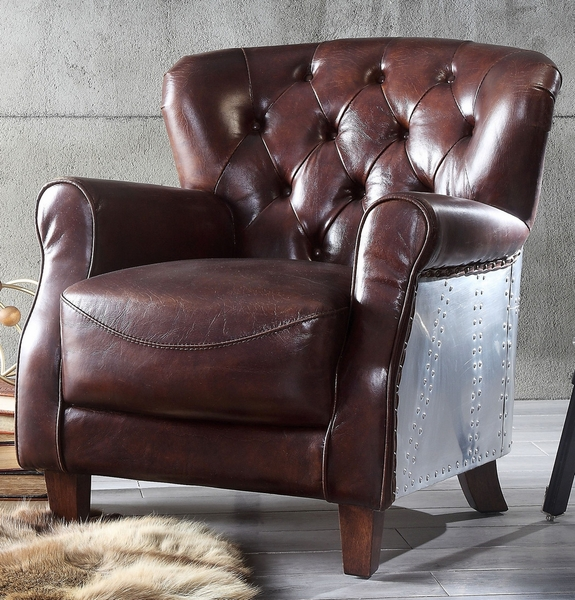 Brancaster Vintage Brown/Top Grain Leather Accent Chair by Acme