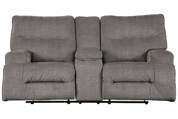 Benchcraft Coombs Charcoal Fabric Power Recliner Loveseat by Ashley