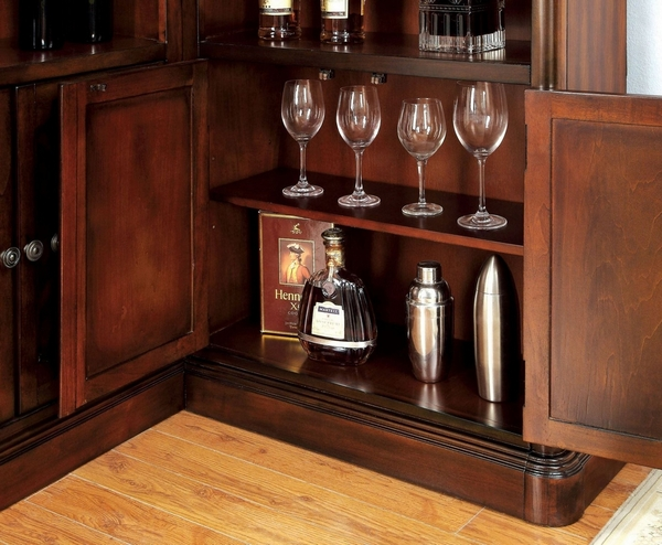Voltaire Dark Cherry Wood Curio by Furniture of America