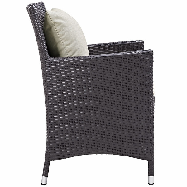 Convene 4 Espresso/Beige Outdoor Patio Dining Arm Chairs by Modway
