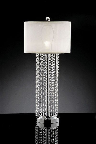 Claris Glam Table Lamp w/ Hanging Crystal by Furniture of America