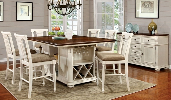 Sabrina Cherry/Off-White Counter Height Table by Furniture of America