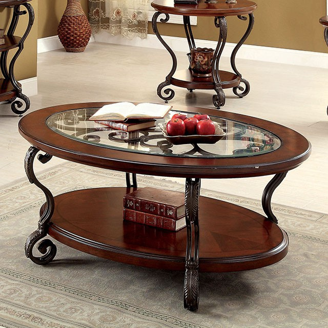 May Brown Cherry Wood/Metal/Glass Coffee Table by Furniture of America