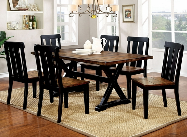 Alana 2 Antique Oak/Black Wood Side Chairs by Furniture of America