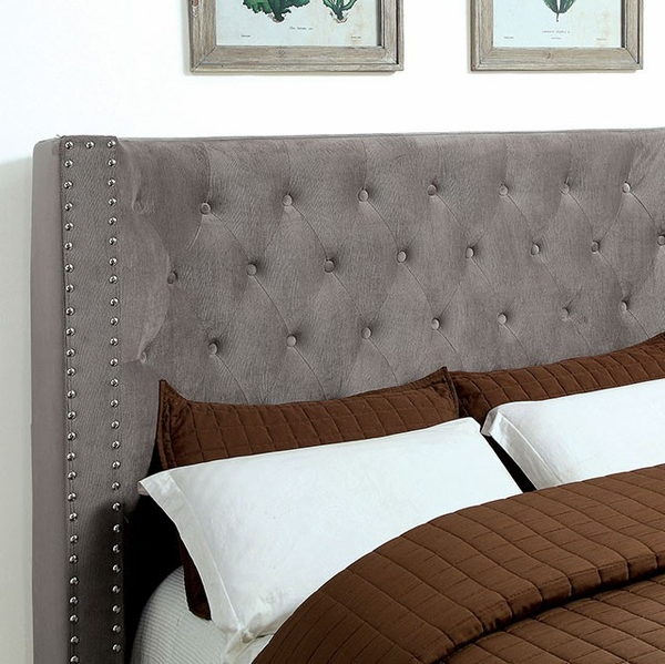 Cayla Gray Fabric Cal King Bed (Oversized) by Furniture of America