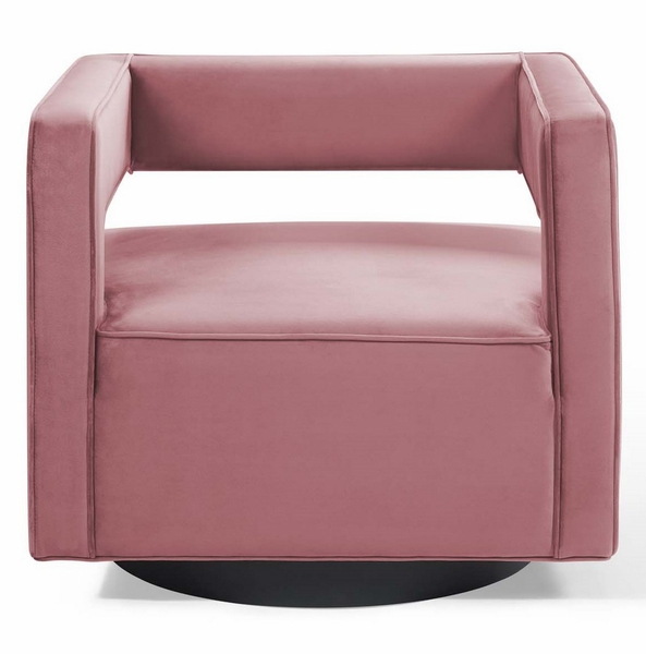 Booth Dusty Rose Performance Velvet Swivel Accent Chair by Modway