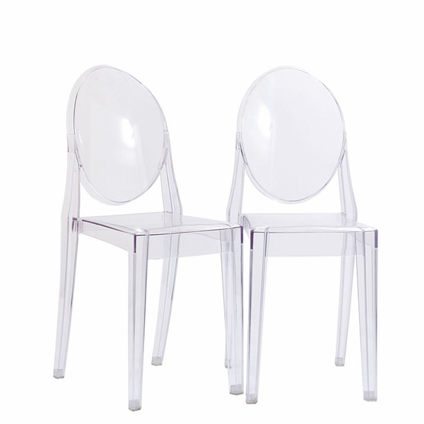Casper 2 Clear Plastic Dining Chairs by Modway