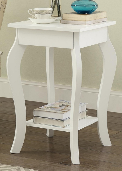 Claudie White Wood End Table with Bottom Shelf by Milton Greens Stars
