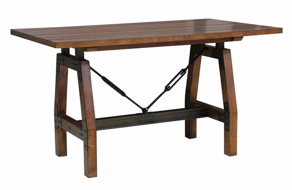 Holverson Rustic Brown Wood Counter Height Table by Homelegance