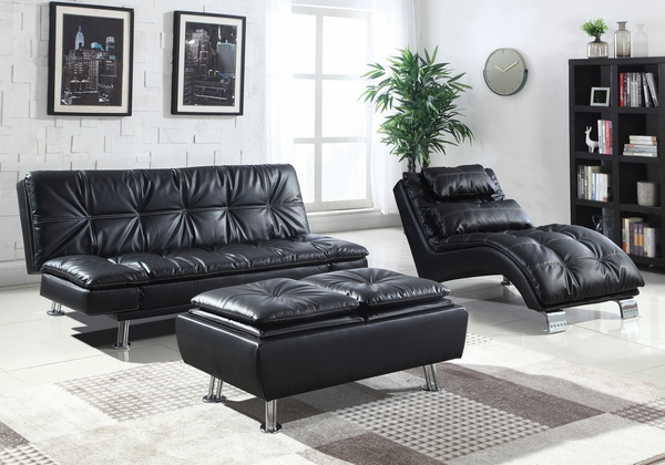 Dilleston Contemporary Black Leatherette Chaise by Coaster
