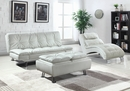 Dilleston Contemporary White Leatherette Chaise by Coaster