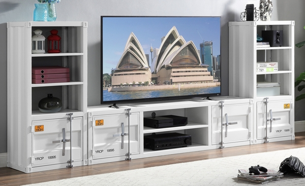 Cargo 3-Pc White Metal Container Style Entertainment Center by Acme