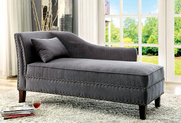 Stillwater Gray Fabric RAF Chaise by Furniture of America