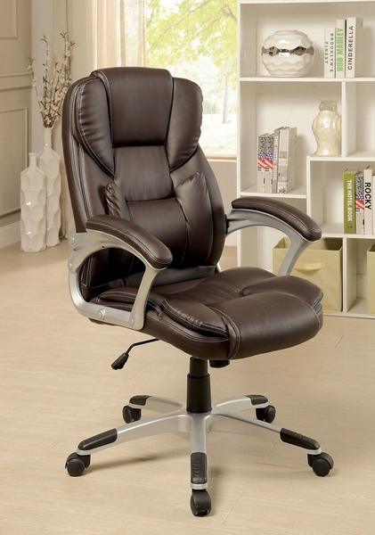 Sibley Brown Leatherette Office Chair by Furniture of America
