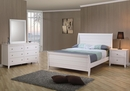 Selena 4-Pc White Wood Twin Sleigh Platform Bed Set by Coaster