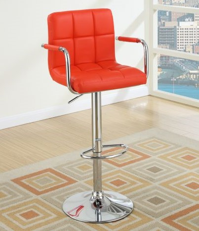 Adelina 2 Red Faux Leather/Metal Bar Stools by Poundex