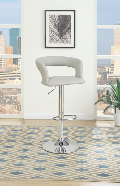 Charline 2 Grey Faux Leather/Chrome Metal Bar Stools by Poundex